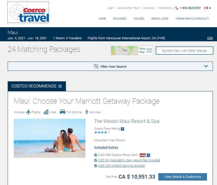 PC Travel vs. Costco Travel vacation package comparison