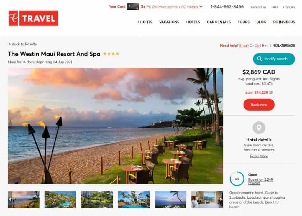 PC Travel vacation package