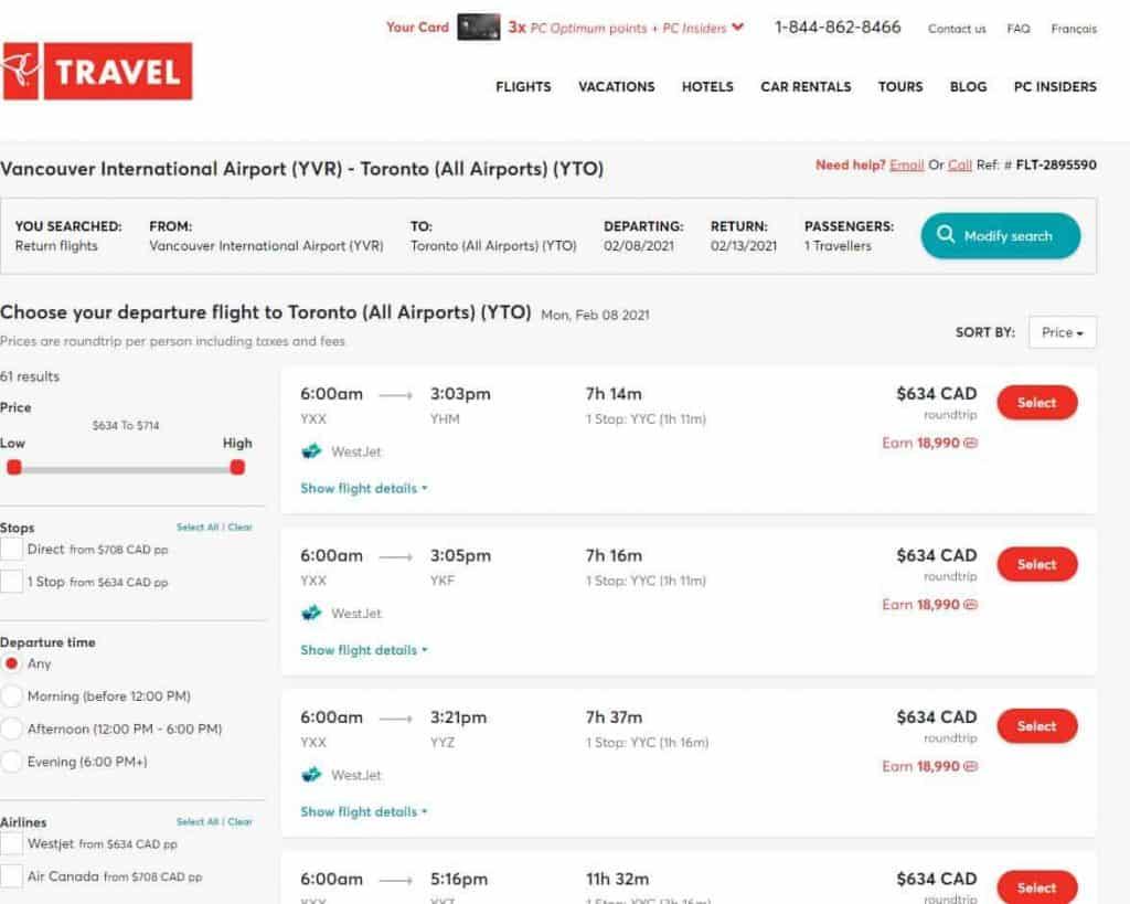PC Travel flight